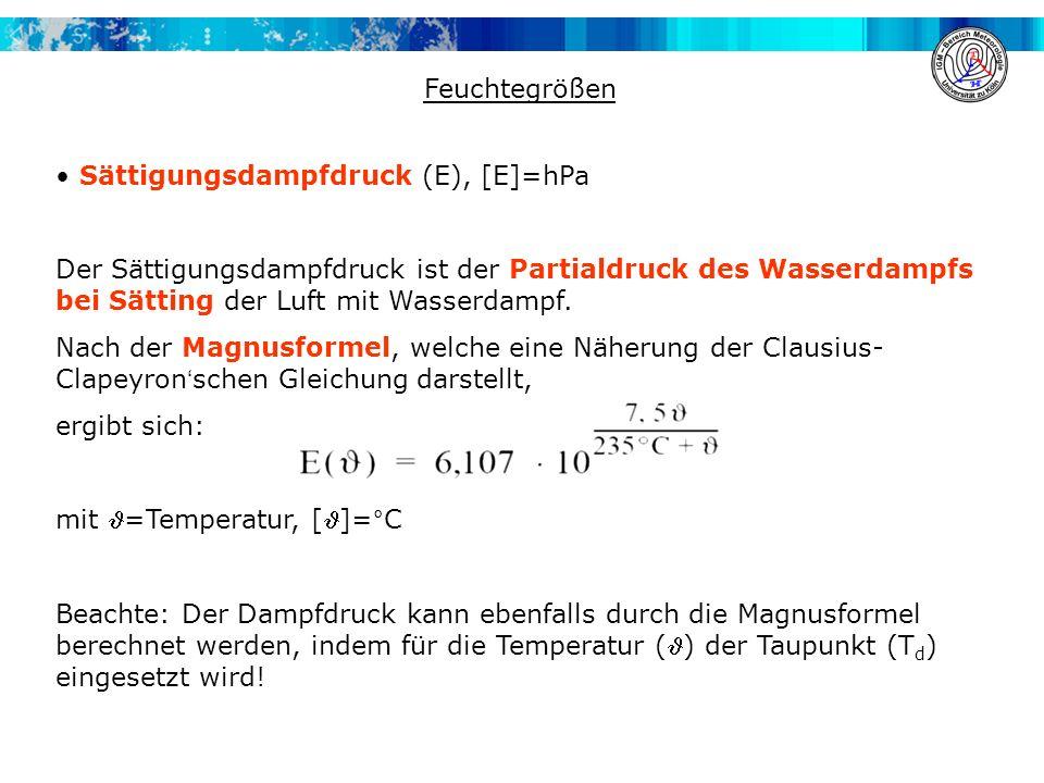 Feuchtegrößen • Sättigungsdampfdruck (E), [E]=hPa.